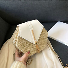 Summer Straw Shoulder Bag Small Women Woven bag retro beach Rattan bag chain