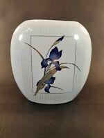 "Otagiri Japan Grand Iris 6.5"" Gold Trim Oval Bud Vase"