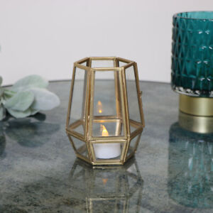 Small Gold Geometric Candle Holder table decor glamorous art deco gift luxe