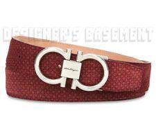 SALVATORE FERRAGAMO red Gancini 40 Suede LOGO buckle Adjustable belt NWT Authent