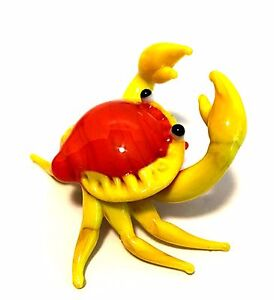 Handcrafted Miniature Crab Blown Glass Figurine Orange Yellow 2.5 inches Long