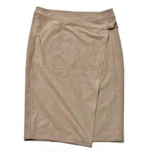Chico's Black Label Suede Faux Wrap Stretch Pencil Skirt Size 1.5 Medium