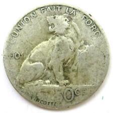1901 Belgium Silver 50 Centimes Coin