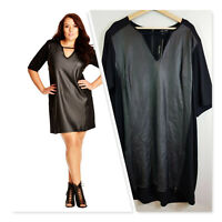 [ CITY CHIC ] Womens Black Leather Look Dress NEW + TAGS | Size XL or AU 22