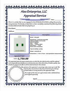 GENUINE 2.14 Cts EMERALD STUD EARRINGS 14k GOLD * Free Certificate Appraisal *