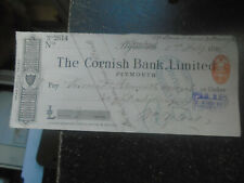 More details for 1897 the cornish bank limited, plymouth, cheque, pay viscount falmouth