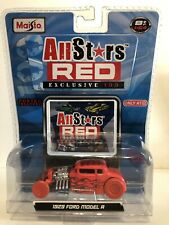 MAISTO CHASE 29 1929 FORD MODEL A ROADSTER ALL STARS RED EXCLUS 100 CAR +POSTER