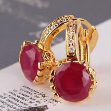 Luxury wedding beauty hoop earring Gorgeous 24K yellow gold filled ruby