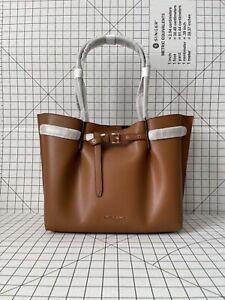 Michael Kors Emilia Large Shoulder Bag Leather Purse Tote Handbag in Luggage