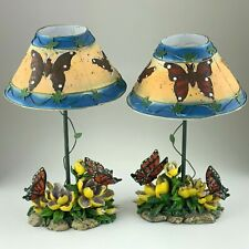 Set of 2 Vintage Butterfly Flower Tea Light Lamps Candle Hand Painted U914
