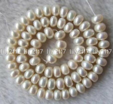 5-7MM White Freshwater Pearl Roundel Beads 15""