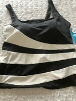 NWT Swimsuits for all Black White  Tankini Top Size 26W