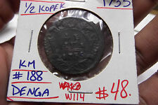 1735 RUSSIA 1/2 KOPEK  KM #188 DENGA W114