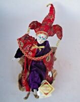 Clown Doll Bisque Porcelain Revolving Musical Jester Red Hand Painted  Authentic