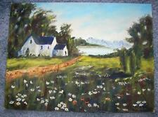 VINTAGE FOLK ART PRIMITIVE BLUE WHITE HOUSE LAKE WILD FLOWERS LANDSCAPE PAINTING