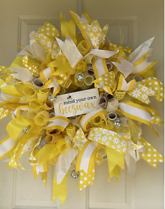 Bright Yellow Welcome Deco Mesh Wreath Large custom made