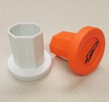 Rocket Mesh Lacrosse TapeSaver Butt End/ End Cap (2-Pack White/Safety Orange)