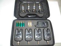 4 x TMC Wireless bite alarms + receiver + illuminated Hangers, Run LED, Carp,