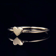 Love Promise Ring Fine Women Jewelry Solid 14K Yellow Gold Fashion Design Heart