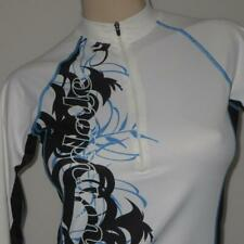Cannondale Cycling Jersey Womens SMALL White Black Blue Flowers Long Sleeve