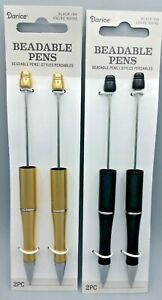 4 pc Darice Beadable Pens, Gold and Black Plastic,  B-A487