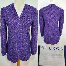 Alexon Vintage Purple Multicolour Blazer Jacket Tailored Size 10 Smart Wool