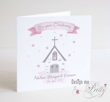PERSONALISED Girls Church Christening Card - Granddaughter Sister Niece