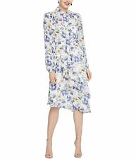 Rachel Roy Womens Sheer Floral Midi Dress, Off-White, 6