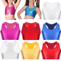 Kids Girls Sport Dance Metallic Crop Top Leotard Ballet Gymnastics Swim Bra Vest