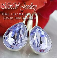 925 SILVER EARRINGS MADE WITH SWAROVSKI® PEAR FANCY STONE LAVENDER - 14MM