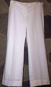 ANN TAYLOR LOFT Women's Size 8 White Striped Dress Casual Fully Lined Pants EUC