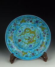 Chinese Antique Plain Tri-colored Porcelain Plate with Dragon