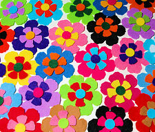 12 x Die Cut Felt Flowers Medium Embellishments Mixed Multicolour Summer Shades