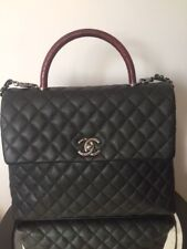 CHANEL CoCo Handle Large Bag Black Burgundy Caviar Lizard Gold Jumbo Flapbag