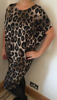 Leopard Print Stretchy Dress Batwinged Silky Soft Plus Size 16-22 NEW Stunning