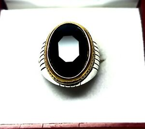 Sterling Silver 57.60 Cts Charming Black Onyx Men's Ring Size 7 US R-10