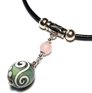 Silver Black Leather Choker Necklace Pendant Green Glass & Rose Quartz Bead Boho