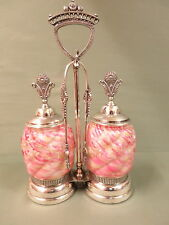 Antique Northwood Royal Ivy Castor Pickle Jars, Stand and Tongs