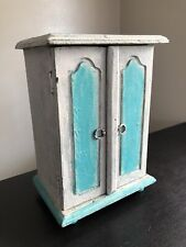 Vintage Primitive Shabby Chic Farmhouse Blue Distressed Wood Jewelry Box Chest