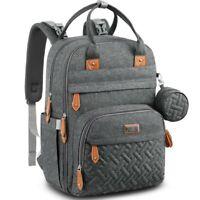 BabbleRoo Multifunction/Waterproof Diaper Bag Backpack (Dark Gray)