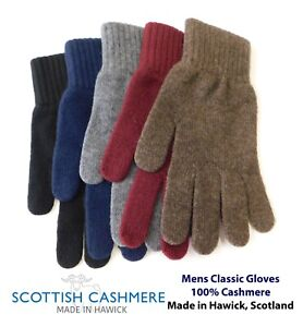 Mens Pure Cashmere Gloves - Made in Hawick, Scotland