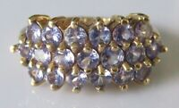 Secondhand ex QVC 9ct yellow gold multi tanzanite cluster ring size L
