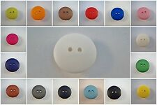 B68-15mm-23mm MATT ROUND 2 HOLES PLASTIC ITALIAN LARGE LITTLE  BUTTONS- COLOURED