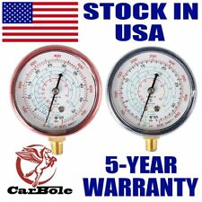 CarBole New A/C R410A R134A R22 Refrigerant Low & High Pressure Gauge PSI KPA x2