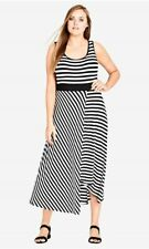 CITY CHIC SIZE XL BLACK AND WHITE STRIPED DRESS
