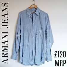 Mens Armani Shirt Blue Striped Button Up Cotton Italian Size XL