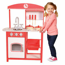 Childrens Kids Red Wooden Pretend Play Kitchen Toy Play Set Oven Sink Cooker