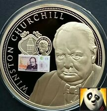 LARGE 2016 50mm £5 Note Polymer Winston Churchill Proof Medal Coin Gold Plated