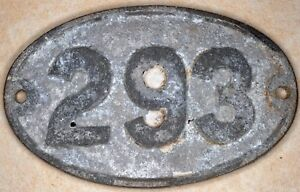 Old English cast metal oval house number 293 door gate plate fence plaque sign