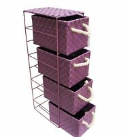 4 Drawer Woven Storage Unit Basket Cabinet With Metal Frame - Purple